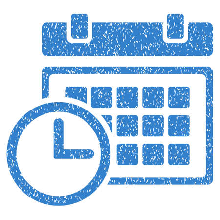 date stamp: Date and Time grainy textured icon for overlay watermark stamps. Flat symbol with unclean texture. Dotted vector cobalt ink rubber seal stamp with grunge design on a white background. Illustration