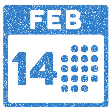 date stamp: Romantic Valentine Day grainy textured icon for overlay watermark stamps. Flat symbol with scratched texture. Dotted vector cobalt ink rubber seal stamp with grunge design on a white background.