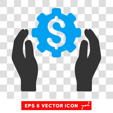 Banking Maintenance Hands EPS vector pictograph. Illustration style is flat iconic bicolor blue and gray symbol on white background. Illustration