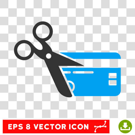 Cut Credit Card EPS vector pictogram. Illustration style is flat iconic bicolor blue and gray symbol on white background. Illustration