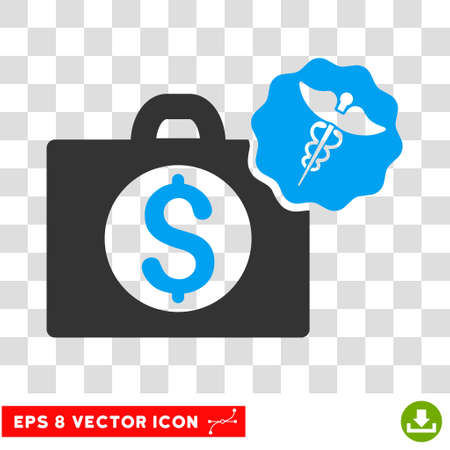 doctor with dollars: Medical Business EPS vector icon. Illustration style is flat iconic bicolor blue and gray symbol on white background.