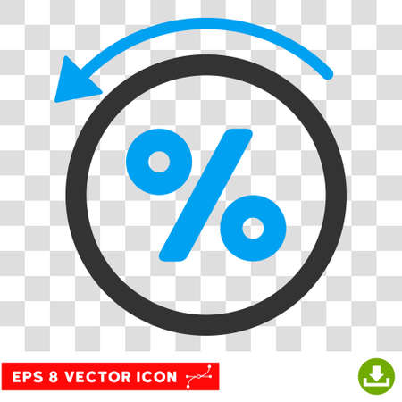 moneyback: Rebate Percent EPS vector icon. Illustration style is flat iconic bicolor blue and gray symbol on white background.
