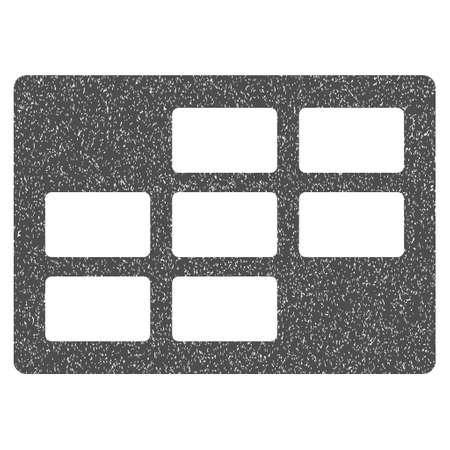 dataset: Calendar Table grainy textured icon for overlay watermark stamps. Flat symbol with unclean texture. Dotted vector gray ink rubber seal stamp with grunge design on a white background.
