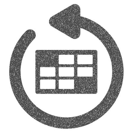 Refresh Calendar grainy textured icon for overlay watermark stamps. Flat symbol with unclean texture. Dotted vector gray ink rubber seal stamp with grunge design on a white background.