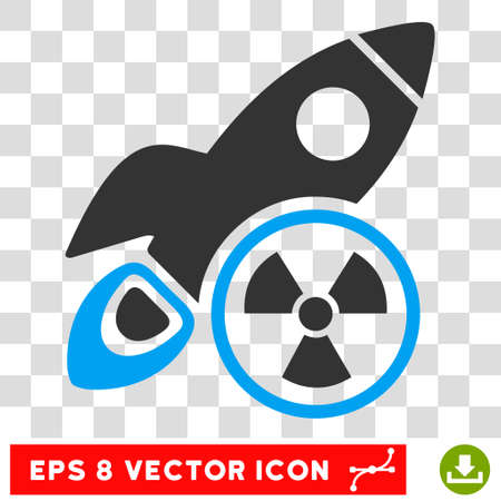 Atomic Rocket Science EPS vector pictogram. Illustration style is flat iconic bicolor blue and gray symbol on white background.