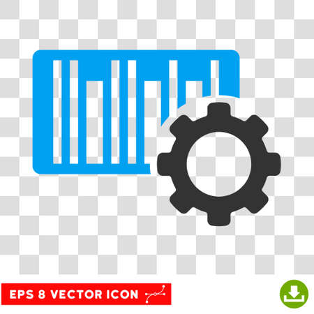 Bar Code Settings EPS vector icon. Illustration style is flat iconic bicolor blue and gray symbol on white background.