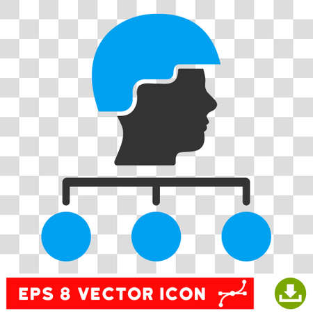 Builder Management Links EPS vector pictogram. Illustration style is flat iconic bicolor blue and gray symbol on white background.