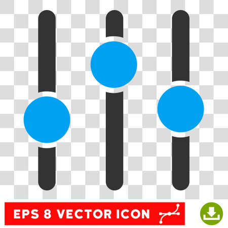 Equalizer EPS vector pictogram. Illustration style is flat iconic bicolor blue and gray symbol on white background.