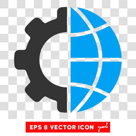 global settings: International Manufacture EPS vector pictograph. Illustration style is flat iconic bicolor blue and gray symbol on white background. Illustration