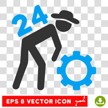 Nonstop Working Person EPS vector pictograph. Illustration style is flat iconic bicolor blue and gray symbol on white background. Illustration