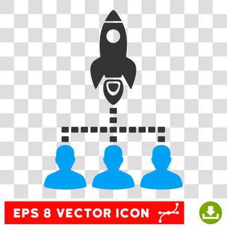 Rocket Space Community EPS vector pictograph. Illustration style is flat iconic bicolor blue and gray symbol on white background.