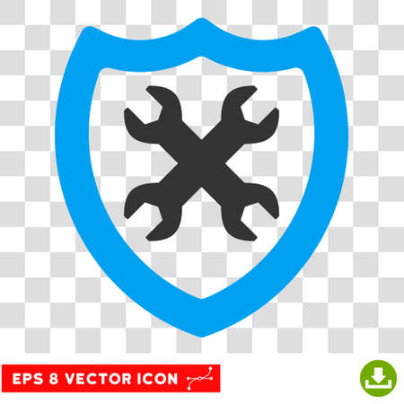 configuration: Security Configuration EPS vector pictogram. Illustration style is flat iconic bicolor blue and gray symbol on white background. Illustration
