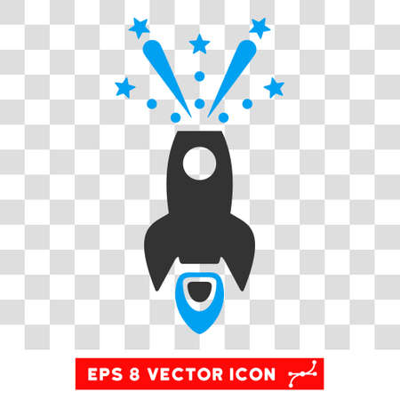 Space Rocket Boom EPS vector icon. Illustration style is flat iconic bicolor blue and gray symbol on white background.