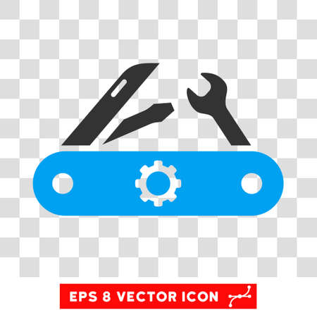 Swiss Knife EPS vector pictogram. Illustration style is flat iconic bicolor blue and gray symbol on white background.