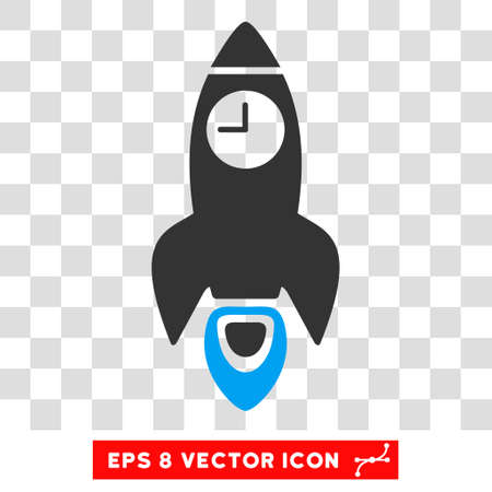 Space Rocket Time EPS vector icon. Illustration style is flat iconic bicolor blue and gray symbol on white background. Stock Illustratie