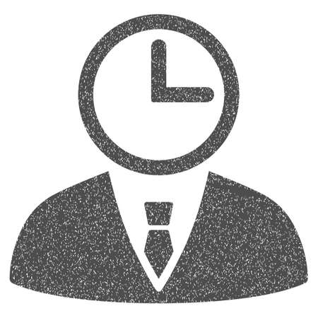 time account: Time Manager grainy textured icon for overlay watermark stamps. Flat symbol with unclean texture. Dotted glyph gray ink rubber seal stamp with grunge design on a white background.