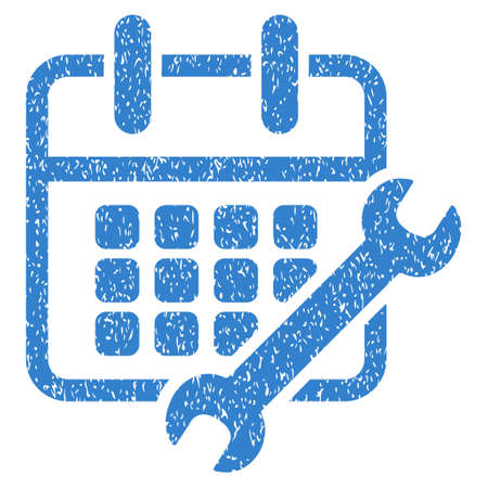 configure: Calendar Configure grainy textured icon for overlay watermark stamps. Flat symbol with unclean texture. Dotted glyph cobalt ink rubber seal stamp with grunge design on a white background.