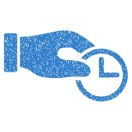 timed: Clock Properties grainy textured icon for overlay watermark stamps. Flat symbol with dust texture. Dotted glyph cobalt ink rubber seal stamp with grunge design on a white background. Stock Photo