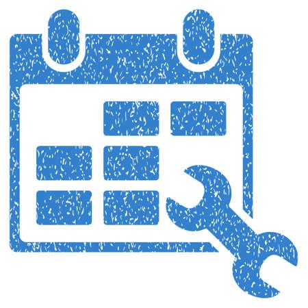 cronograma: Configurar Horarios icono de textura granulosa de sellos de agua de superposición. símbolo plana con textura rayada. glifo de cobalto sello de junta de goma de la tinta de puntos con diseño de grunge sobre un fondo blanco. Foto de archivo