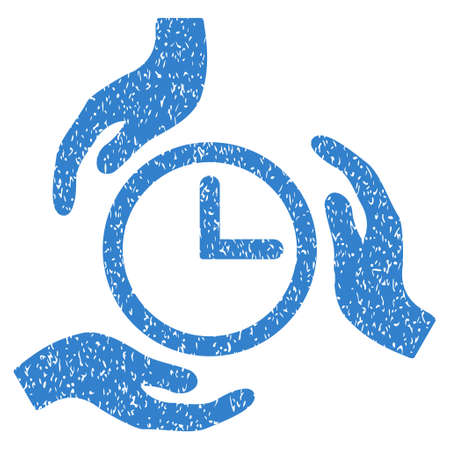 Time Care Hands grainy textured icon for overlay watermark stamps. Flat symbol with dirty texture. Dotted glyph cobalt ink rubber seal stamp with grunge design on a white background.