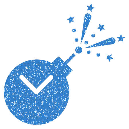explosive watch: Time Fireworks Charge grainy textured icon for overlay watermark stamps. Flat symbol with unclean texture. Dotted glyph cobalt ink rubber seal stamp with grunge design on a white background.