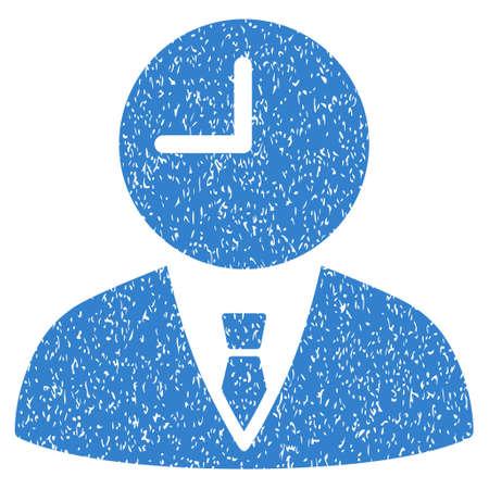 administrador de empresas: Administrador de tiempo icono de textura granulosa de sellos de agua de superposición. símbolo plana con textura rayada. glifo de cobalto sello de junta de goma de la tinta de puntos con diseño de grunge sobre un fondo blanco.