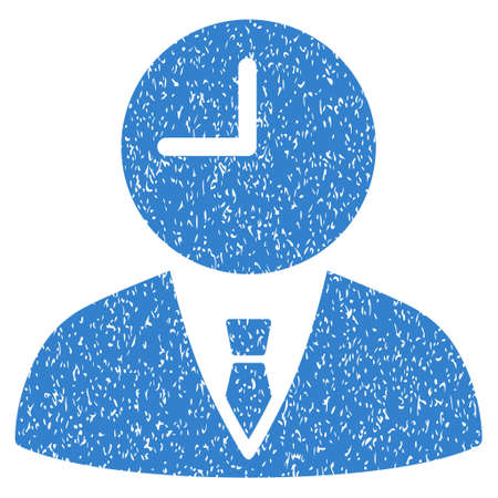 temporary: Time Manager grainy textured icon for overlay watermark stamps. Flat symbol with scratched texture. Dotted glyph cobalt ink rubber seal stamp with grunge design on a white background.