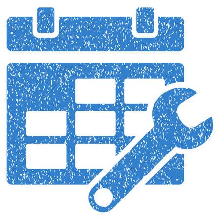 cronograma: Opciones de calendario Granulado icono textura de sellos de agua de superposición. símbolo plana con textura sucia. glifo de cobalto sello de junta de goma de la tinta de puntos con diseño de grunge sobre un fondo blanco.