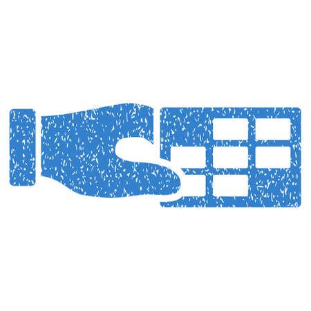 cronograma: Propiedades horario Granulado icono textura de sellos de agua de superposición. símbolo plana con textura de polvo. glifo de cobalto sello de junta de goma de la tinta de puntos con diseño de grunge sobre un fondo blanco.