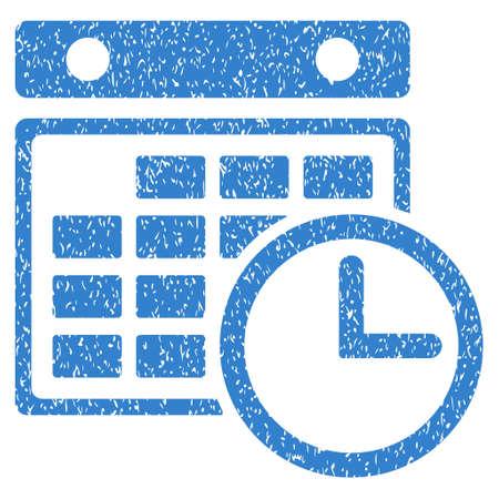 cronograma: Horarios icono de textura granulosa de sellos de agua de superposición. símbolo plana con textura sucia. glifo de cobalto sello de junta de goma de la tinta de puntos con diseño de grunge sobre un fondo blanco.