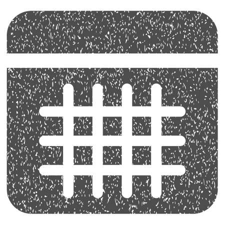 dataset: Calendar Lines Page grainy textured icon for overlay watermark stamps. Flat symbol with dirty texture. Dotted vector gray ink rubber seal stamp with grunge design on a white background.