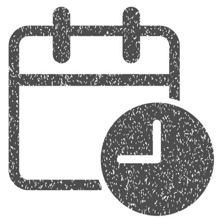 timed: Date Time Calendar Leaf grainy textured icon for overlay watermark stamps. Flat symbol with unclean texture. Dotted vector gray ink rubber seal stamp with grunge design on a white background.