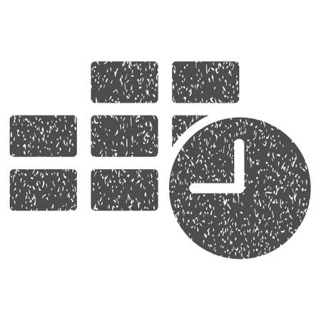 timed: Date Time Table grainy textured icon for overlay watermark stamps. Flat symbol with dirty texture. Dotted vector gray ink rubber seal stamp with grunge design on a white background.