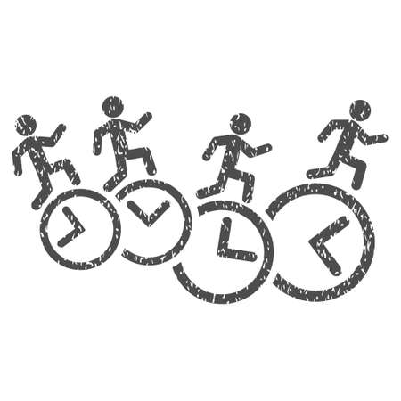 timed: Men Running Over Clocks grainy textured icon for overlay watermark stamps. Flat symbol with dirty texture. Dotted vector gray ink rubber seal stamp with grunge design on a white background.