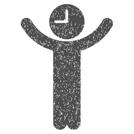 Time Boss grainy textured icon for overlay watermark stamps. Flat symbol with unclean texture. Dotted vector gray ink rubber seal stamp with grunge design on a white background. Illustration