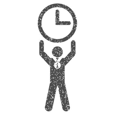 Time Champion grainy textured icon for overlay watermark stamps. Flat symbol with dust texture. Dotted vector gray ink rubber seal stamp with grunge design on a white background.