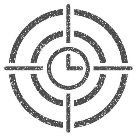 dartboard: Time Target grainy textured icon for overlay watermark stamps. Flat symbol with dirty texture. Dotted vector gray ink rubber seal stamp with grunge design on a white background. Illustration