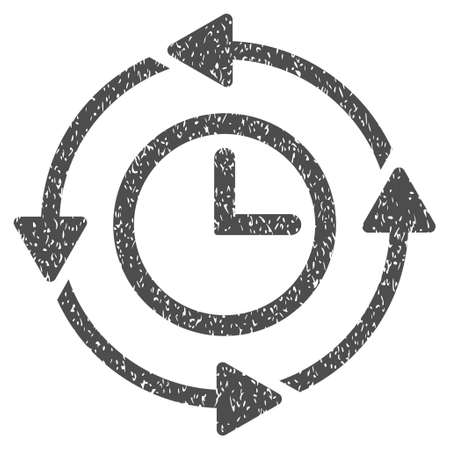 Wayback Clock grainy textured icon for overlay watermark stamps. Flat symbol with unclean texture. Dotted vector gray ink rubber seal stamp with grunge design on a white background.