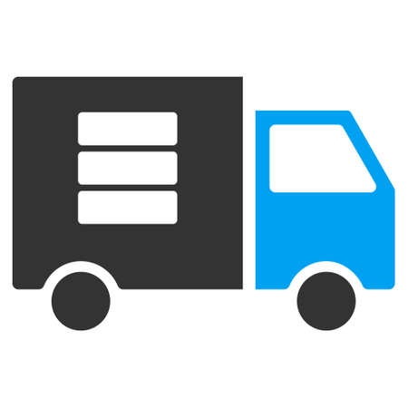 Data Transfer Van vector pictograph. Illustration style is a flat iconic bicolor blue and gray symbol on white background.