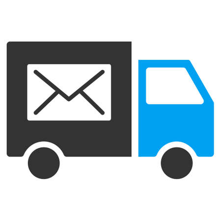 mail delivery: Mail Delivery Van vector pictogram. Illustration style is a flat iconic bicolor blue and gray symbol on white background.