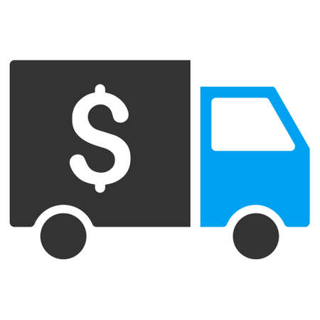 collector: Tax Collector Car vector pictogram. Illustration style is a flat iconic bicolor blue and gray symbol on white background. Illustration
