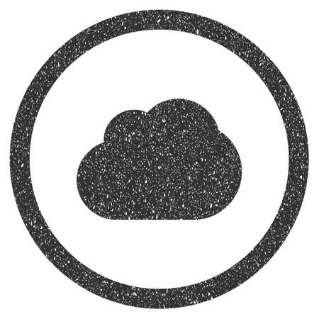 dust cloud: Cloud rubber seal stamp watermark. Icon symbol inside circle frame with grunge design and dust texture. Scratched vector gray ink sign on a white background. Illustration