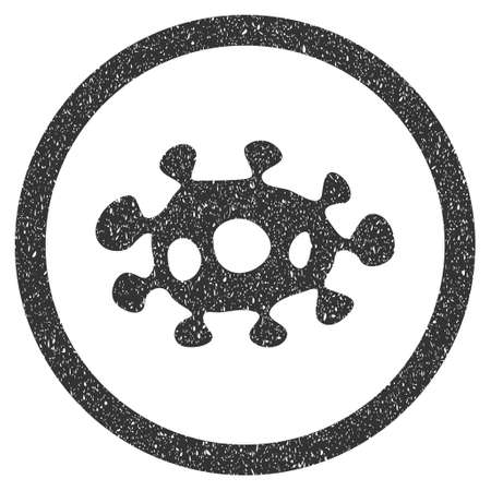 awful: Virus rubber seal stamp watermark. Icon symbol inside circle frame with grunge design and unclean texture. Scratched vector gray ink sticker on a white background.