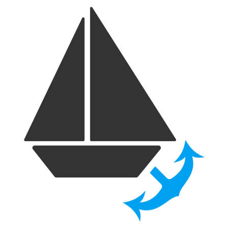 seaport: Seaport glyph pictograph. Illustration style is a flat iconic bicolor blue and gray symbol on white background.