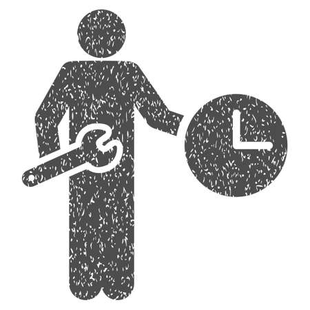 Clock Serviceman grainy textured icon for overlay watermark stamps. Flat symbol with scratched texture. Dotted glyph gray ink rubber seal stamp with grunge design on a white background.