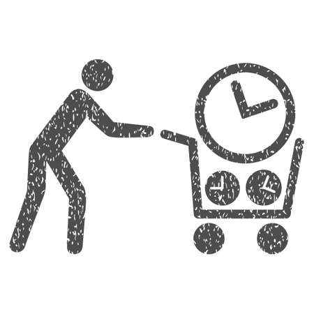 Clock Shopping grainy textured icon for overlay watermark stamps. Flat symbol with dirty texture. Dotted glyph gray ink rubber seal stamp with grunge design on a white background.