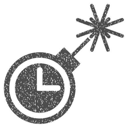 Time Bomb grainy textured icon for overlay watermark stamps. Flat symbol with dirty texture. Dotted glyph gray ink rubber seal stamp with grunge design on a white background. Stock Photo