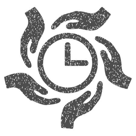 Time Care grainy textured icon for overlay watermark stamps. Flat symbol with unclean texture. Dotted glyph gray ink rubber seal stamp with grunge design on a white background.