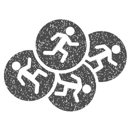 Running Men grainy textured icon for overlay watermark stamps. Flat symbol with scratched texture. Dotted glyph gray ink rubber seal stamp with grunge design on a white background. Stock Photo
