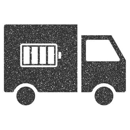Camion de livraison de batterie en caoutchouc sceau cachet de filigrane. Symbole d'icône avec design grunge et texture de corrosion. Emblème d'encre grise vecteur rayé sur un fond blanc.